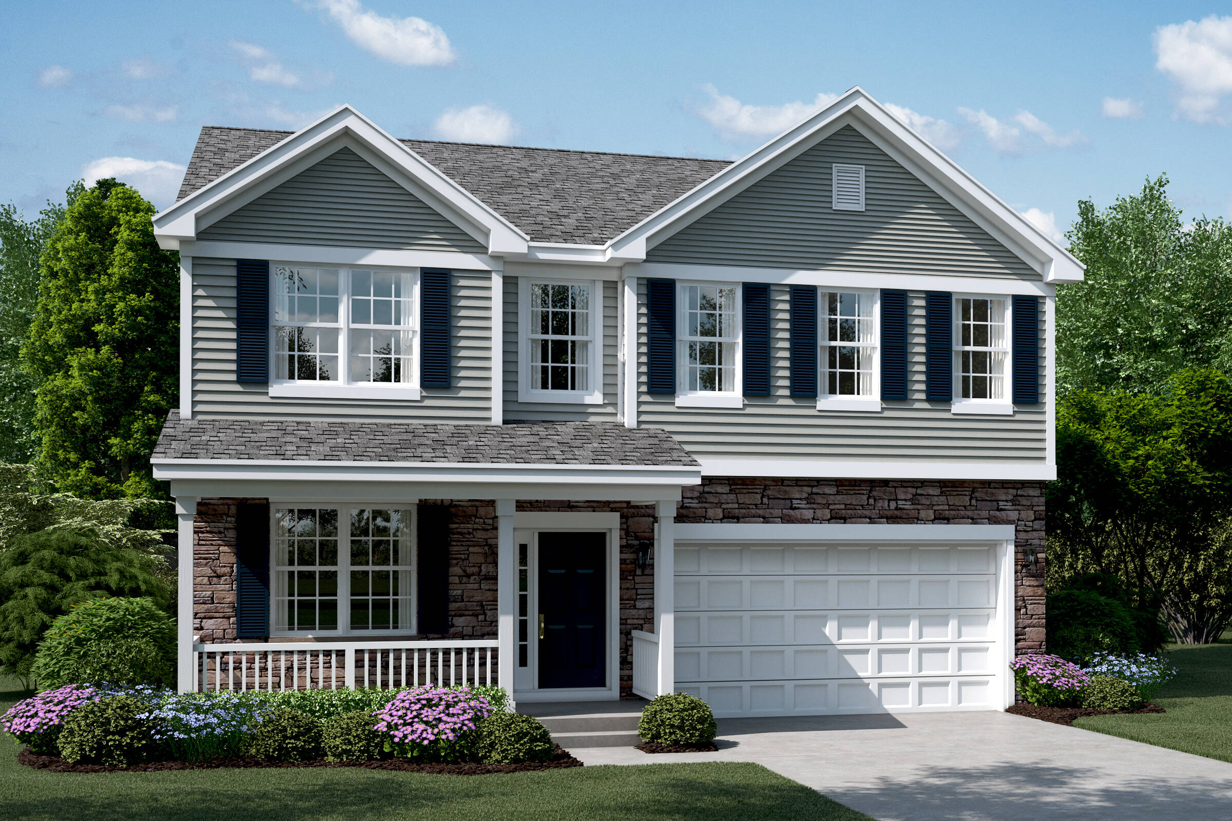 clover b stone elevation new homes in south elgin