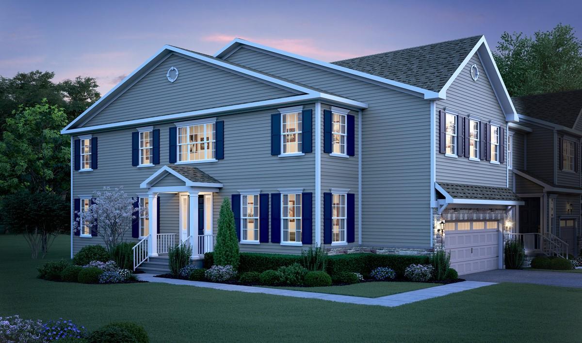 2880x1700 NewHomesMonroeNJ Building-12-3-Unit-TH-elev-Claremont-A-LEFT-elev